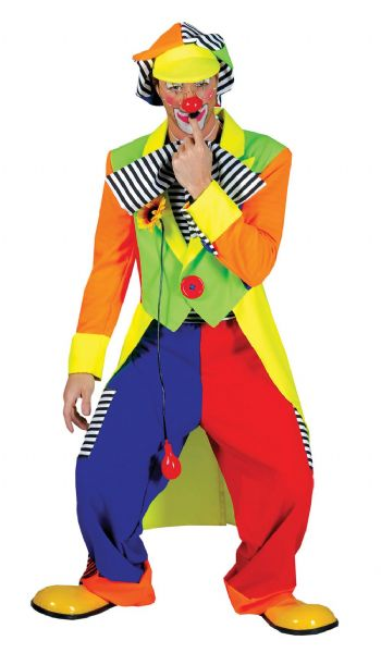 Adults Clown Coat + Trousers Costume Circus FunFair Parade Fancy Dress Outfit